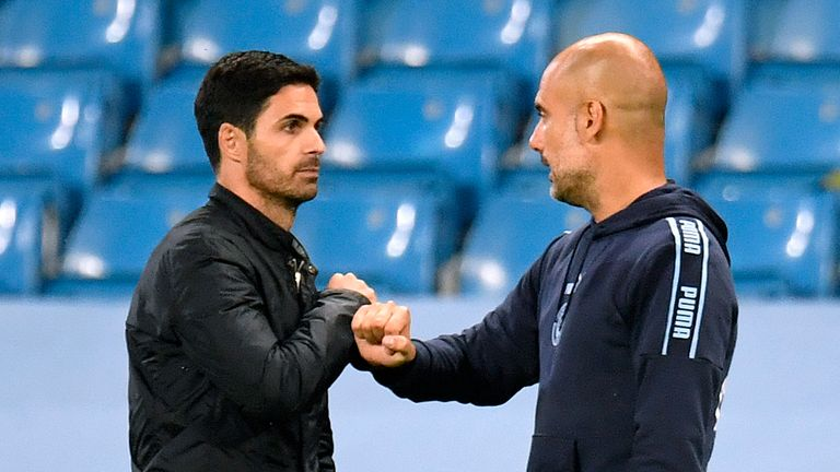 Arsenal manager Mikel Arteta (left) and Manchester City manager Pep Guardiola fist bump after the Premier League match at the Etihad Stadium, Manchester.