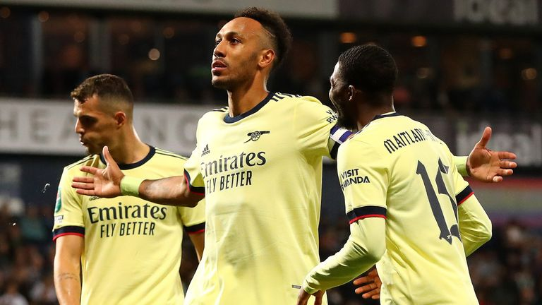 Pierre-Emerick Aubameyang celebrates after completing his hat-trick