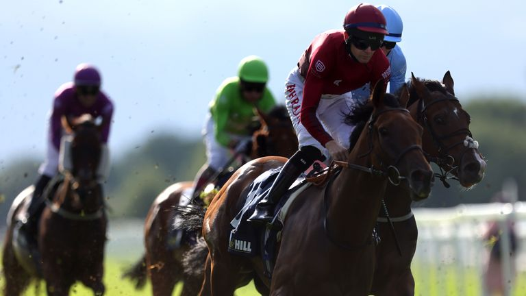 Robert Havlin riding Autumn Flight (right) on their way to winning the William Hill Play Responsibly Racing League R19 Handicap at Windsor