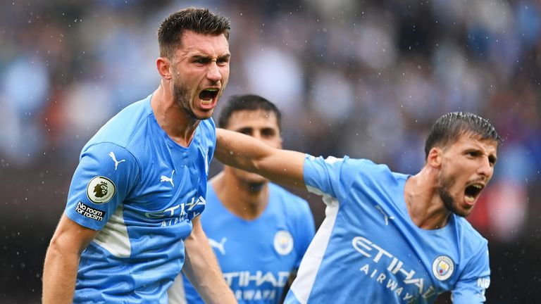 Aymeric Laporte celebrates after scoring City's third goal