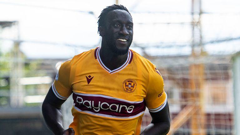 Motherwell's Bevis Mugabi celebrates making it 2-1