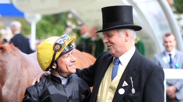 Bjorn Nielsen embraces Frankie Dettori after Stradivarius' fourth Gold Cup win at Ascot last year