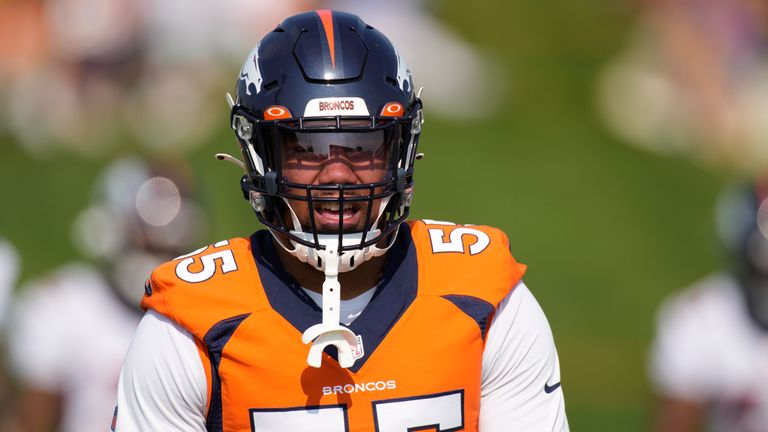 Bradley Chubb will have some welcome support this season as Von Miller returns to action (AP Photo/David Zalubowski)