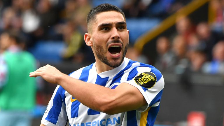 Brighton's Neal Maupay celebrates scoring his side's first goal of the game