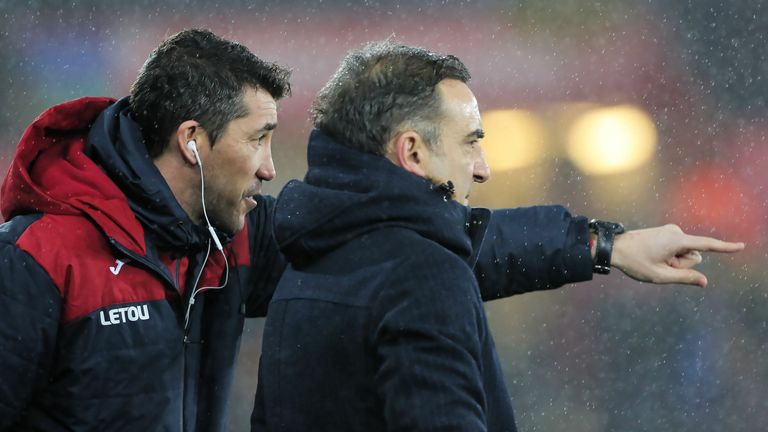 Bruno Lage advises Carlos Carvalhal during Swansea's FA Cup tie against Wolves