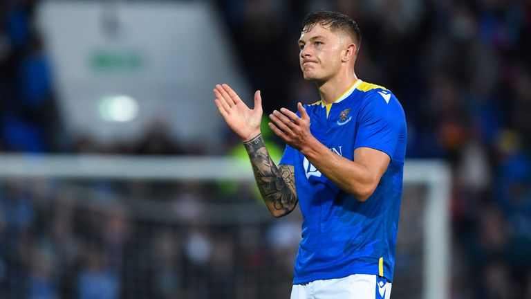 Callum Hendry salutes the St. Johnstone fans at full-time at McDiarmid Park