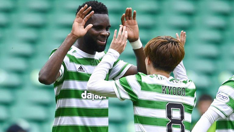 Celtic's Odsonne Edouard  (L) celebrates making it 1-0 with Kyogo Furuhashi