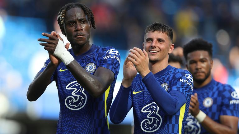 Trevor Chalobah applauds the Chelsea fans at Stamford Bridge