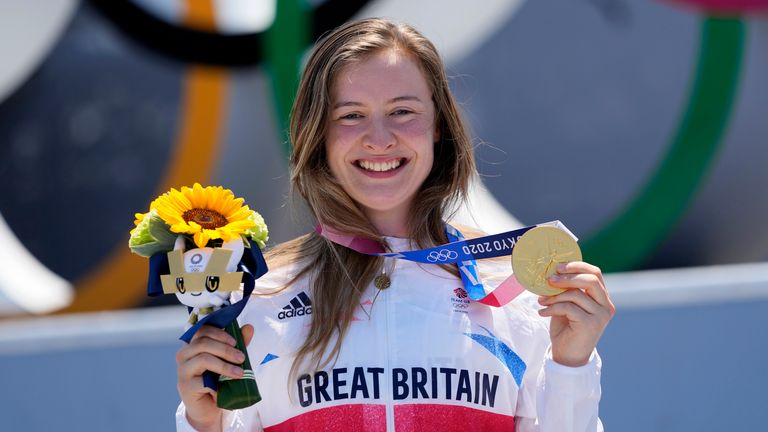 Charlotte Worthington of Britain poses with her gold medal in the women's BMX freestyle final