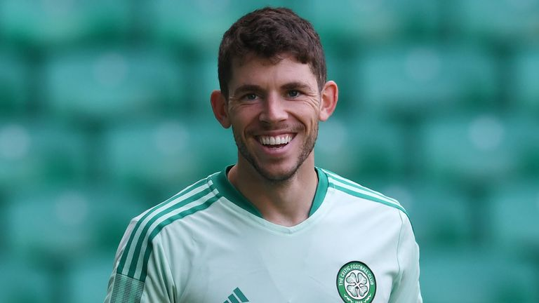 GLASGOW, SCOTLAND - AUGUST 25 : Ryan Christie during Celtic Training  at Celtic Park on August 25 , 2021, in Glasgow, Scotland. (Photo by Craig Foy / SNS Group)