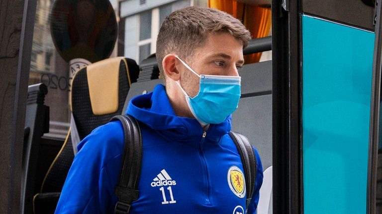 GLASGOW, SCOTLAND - JUNE 21: Ryan Christie is pictured as Scotland's squad arrive at their hotel on June 21, 2021, in Glasgow, Scotland.  (Photo by Alan Harvey / SNS Group)