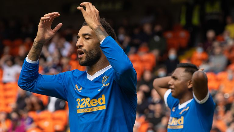 DUNDEE, SCOTLAND - AUGUST 07: Connor Goldson is frustrated during a cinch Premiership match between Dundee United and Rangers at Tannadice, on August 07, 2021, in Dundee, Scotland (Photo by Craig Williamson / SNS Group)