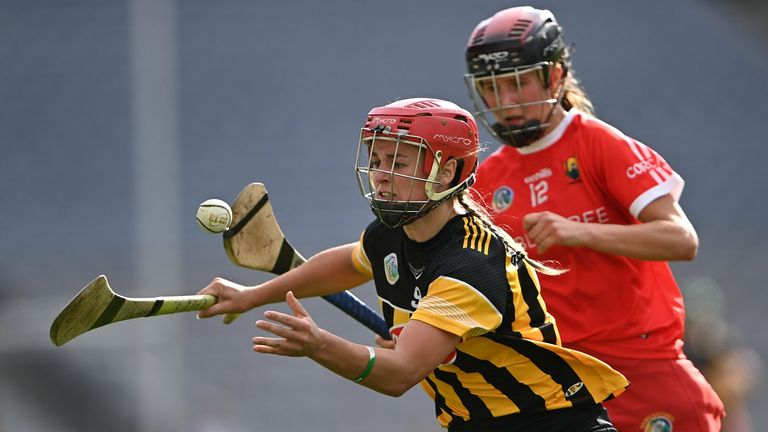 Grace Walsh of Kilkenny in action against Ciara O'Sullivan of Cork