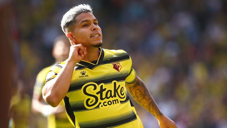 Cucho Hernandez celebrates scoring Watford's third goal
