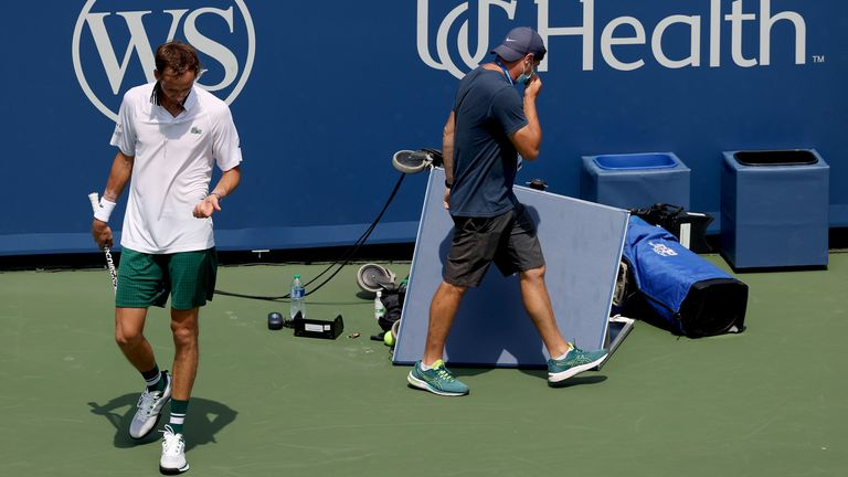 Daniil Medvedev collided with one of the on-court cameras during his loss