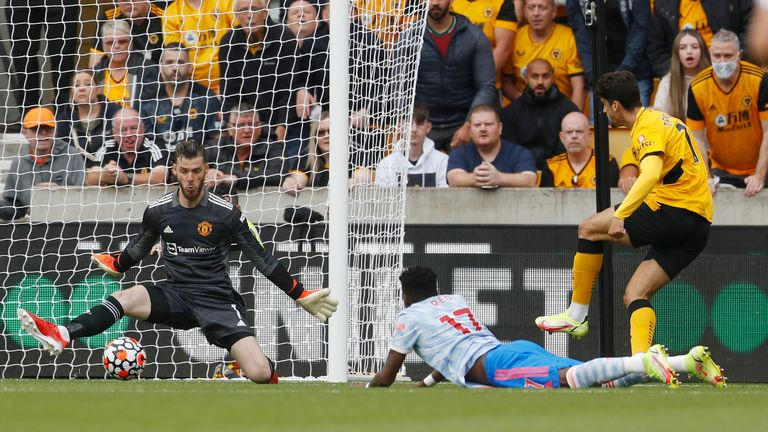 August 29, 2021, Wolverhampton, United Kingdom: Wolverhampton, England, 29th August 2021. David De Gea of Manchester United makes a save from Trincao of Wolverhampton Wanderers during the Premier League match at Molineux, Wolverhampton. Picture credit should read: Darren Staples / Sportimage(Credit Image: © Darren Staples/CSM via ZUMA Wire) (Cal Sport Media via AP Images)
