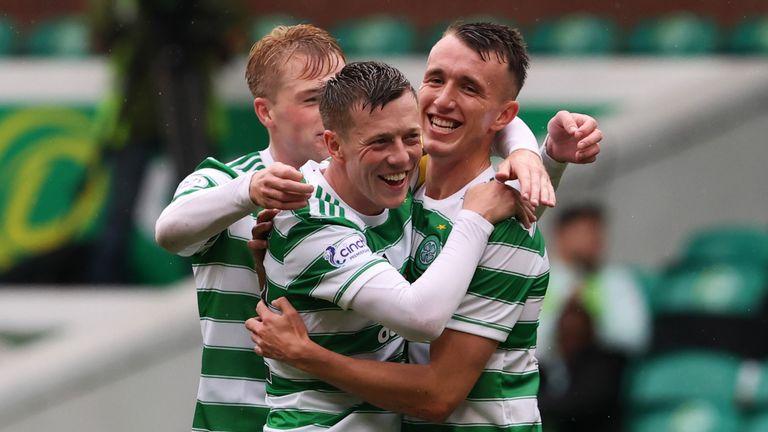 David Turnbull celebrates after putting Celtic 3-0 up