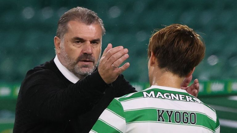 GLASGOW, SCOTLAND - AUGUST 12: Celtic Manager Ange Postecoglou with Celtic...s Kyogo Furuhashi during a UEFA Europa League 2nd Leg Qualifer between Celtic and Jablonec at Celtic Park, on August 12, 2021, in Glasgow, Scotland. (Photo by Craig Williamson / SNS Group)