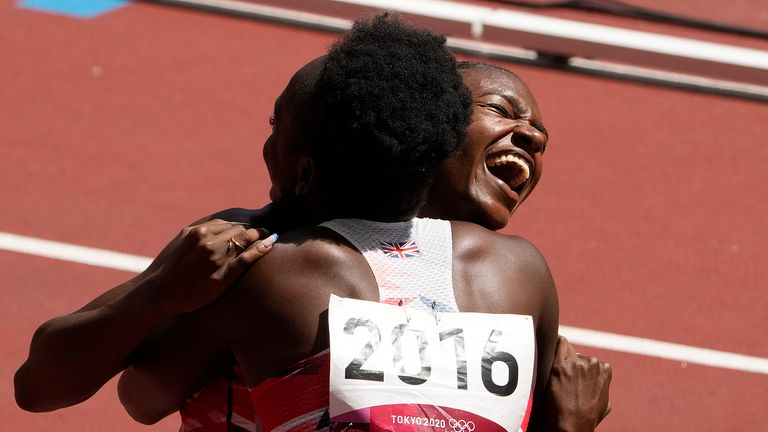 Asher-Smith and Neita celebrate their win in the 4x100m relay heat