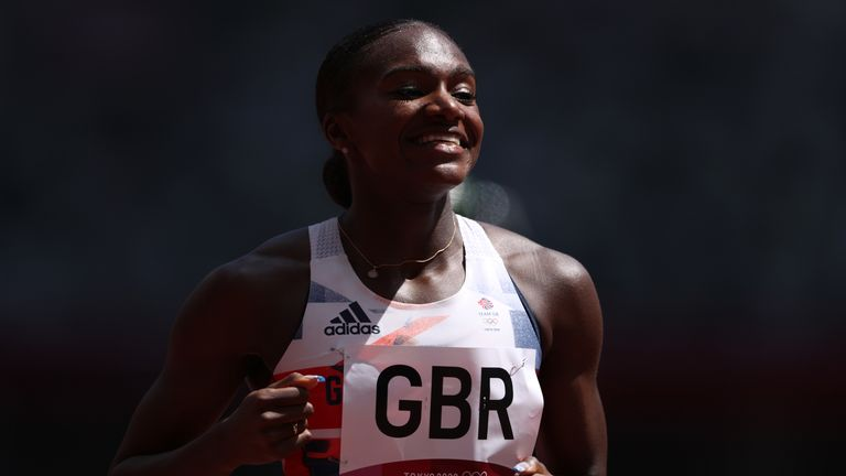 Dina Asher-Smith made her return to the track as part of the 4x100m team