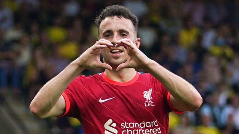Diogo Jota celebrates scoring for Liverpool