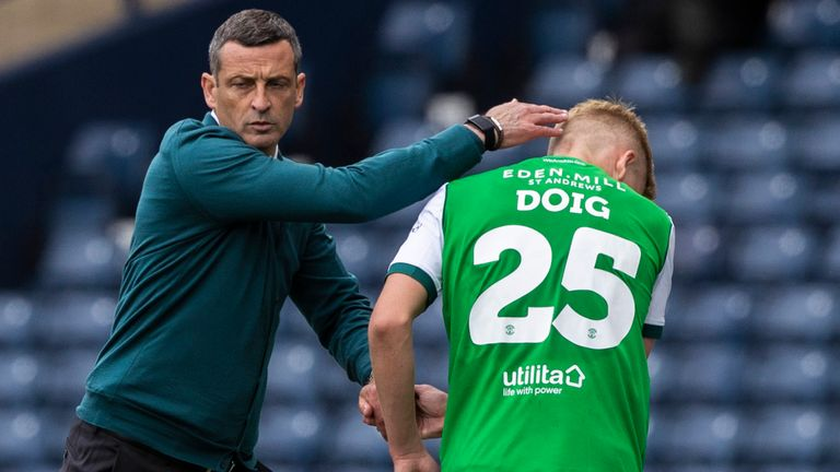 GLASGOW, SCOTLAND - MAY 22: Hibernian head coach Jack Ross (left) with Josh Doig during the Scottish Cup final match between Hibernian and St Johnstone at Hampden Park, on May 22, 2021, in Glasgow, Scotland. (Photo by Craig Williamson / SNS Group)