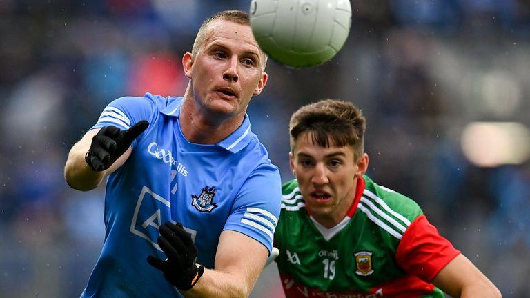 Ciaran Kilkenny of Dublin in action against Enda Hession of Mayo
