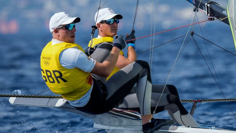 Great Britain's Dylan Fletcher and Stuart Bithell compete during the 49er men race