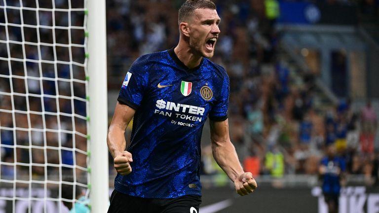 Edin Dzeko celebrates scoring in Inter's win over Genoa