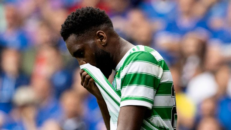 GLASGOW, SCOTLAND - AUGUST 29: Celtic's Odsonne Edouard misses a chance during a cinch Premiership match between Rangers and Celtic at Ibrox, on August 29, 2021, in Glasgow, Scotland (Photo by Alan Harvey / SNS Group)