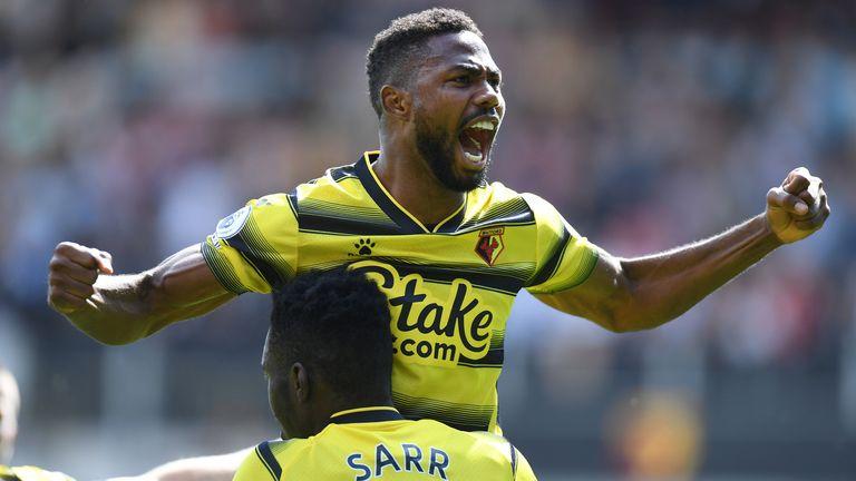 Emmanuel Dennis of Watford celebrates his first-half goal against Aston Villa