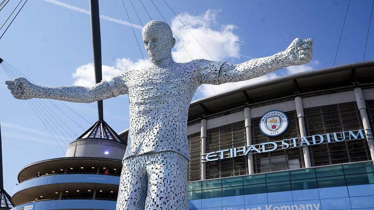 A new statue of Manchester City's former player and captain Vincent Kompany outside the ground ahead of the Premier League match at the Etihad Stadium, Manchester.