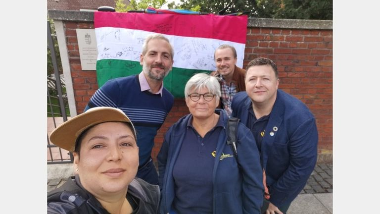 In the EGLSF letter delivered to the Hungarian Embassy in Copenhagen, co-presidents Sarah Townsend and Hugh Torrance (centre and right) highlighted the 'increasingly unsafe' conditions for LGBTQ+ people in Hungary
