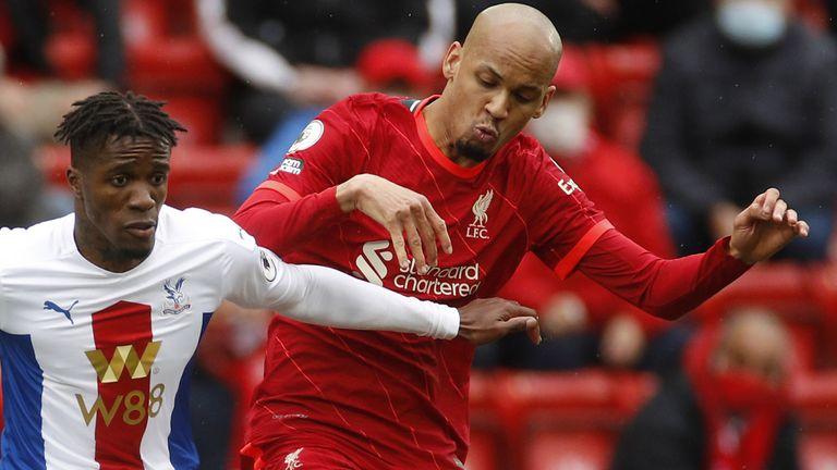 Liverpool midfielder Fabinho challenges Crystal Palace forward Wilfred Zaha (PA)