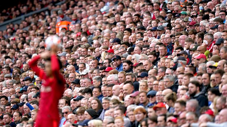 A view of fans at Anfield during Liverpool vs Burnley