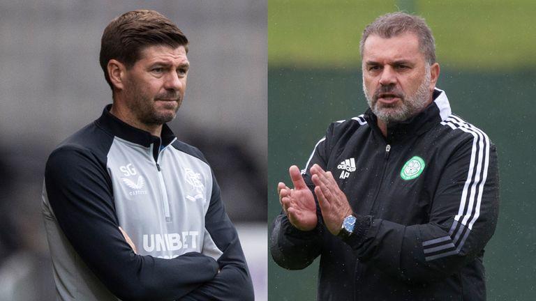 Rangers manager Steven Gerrard; Celtic manager Ange Postecoglou.