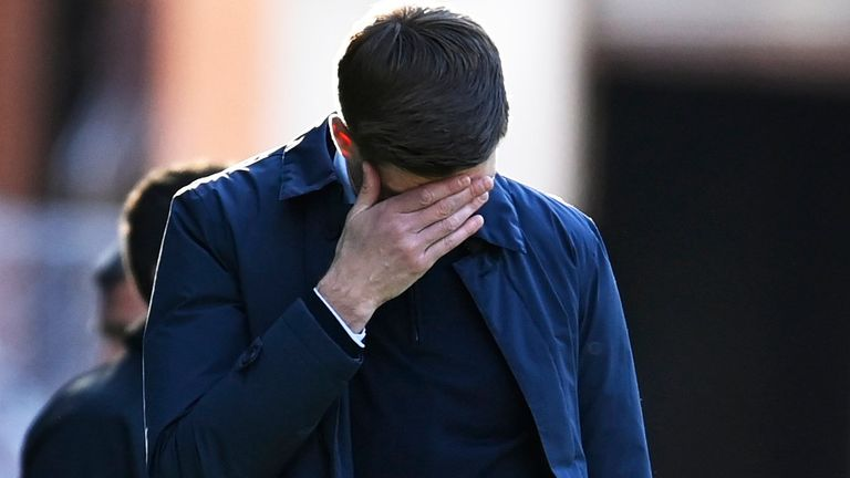 GLASGOW, SCOTLAND - APRIL 25:  Rangers Manager steven Gerrard during a Scottish Cup match between Rangers and St Johnstone at Ibrox Stadium on April 25, 2021, in Glasgow, Scotland. (Photo by Rob Casey / SNS Group)