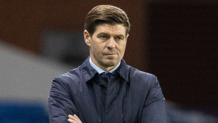 GLASGOW, SCOTLAND - MARCH 18: Rangers manager Steven Gerrard during the UEFA Europa League Round of 16 2nd Leg match between Rangers FC and Slavia Prague at Ibrox Stadium on March 18, 2021, in Glasgow, Scotland.  (Photo by Alan Harvey / SNS Group)