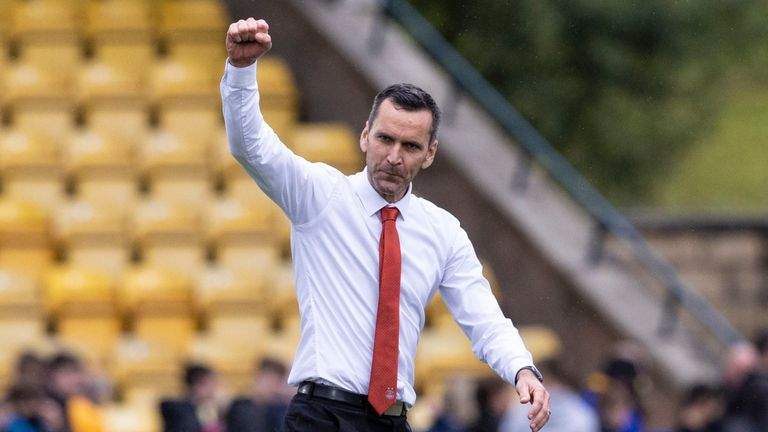 LIVINGSTON, SCOTLAND - AUGUST 08: Aberdeen manager Stephen Glass at full time during a cinch Premiership match between Livingston and Aberdeen at The Tony Macaroni Arena, on August 08, 2021, in Livingston, Scotland. (Photo by Alan Harvey / SNS Group)