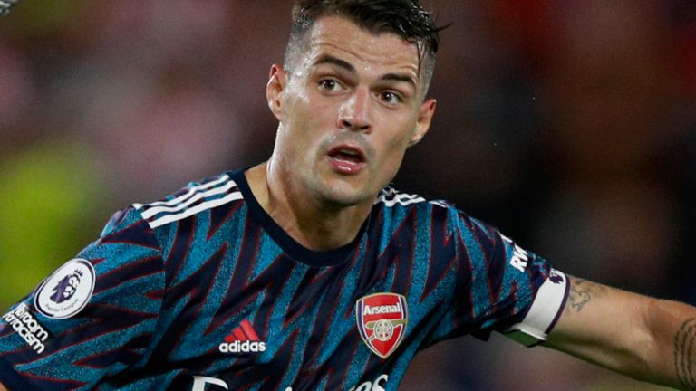 Granit Xhaka captained Arsenal in the 2-0 defeat against Brentford in the Premier League on Friday