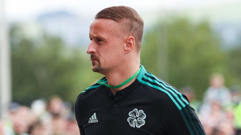 GLASGOW, SCOTLAND - AUGUST 15: Celtic's Leigh Griffiths arrives ahead of the Premier Sports Cup match between Celtic and Heart of Midlothian on August 15, 2021, in Glasgow, Scotland. (Photo by Craig Williamson / SNS Group)