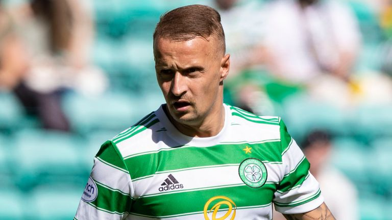 GLASGOW, SCOTLAND - JULY 24: Leigh Griffiths in action for Celtic during a friendly match between Celtic and West Ham United at Celtic Park on July 24, 2021, in Glasgow, Scotland (Photo by Craig Williamson / SNS Group)