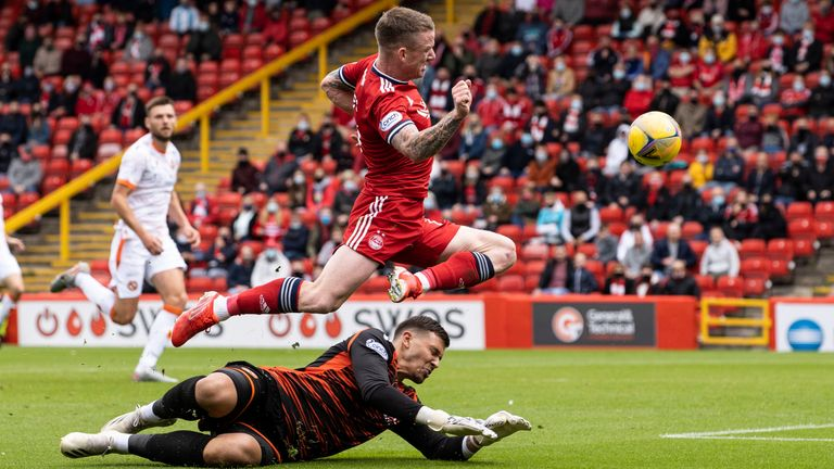 Aberdeen's Jonny Hayes goes past Benjamin Siegrist as he scores the opening goal in the match against Dundee United at Pittodrie