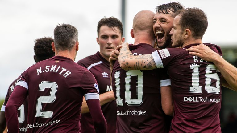 PAISLEY, SCOTLAND - AUGUST 07: Hearts' Liam Boyce celebrates his goal making it 2-0 with teammates during a cinch Premiership match between St Mirren and Hearts at SMISA Stadium, on August 07, 2021, in Paisley, Scotland (Photo by Alan Harvey / SNS Group)