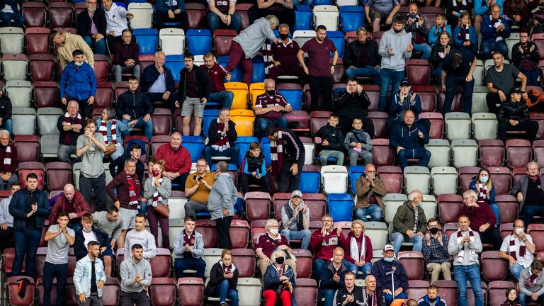Hearts fans during opening day win over Celtic (SNS)