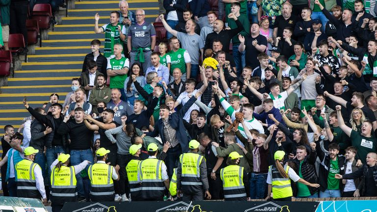 2,000 Hibernian fans celebrate the win over Motherwell