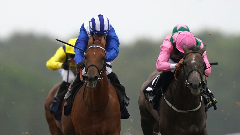 Zeyaadah (blue) wins the Hoppings Fillies' Stakes at Newcastle