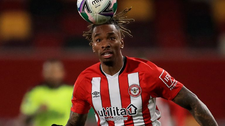 Brentford's Ivan Toney follows the ball during the EFL Cup soccer match between Brentford and Newcastle United at Brentford Community Stadium in London, England, Tuesday, Dec. 22, 2020. (Adam Davy/Pool via AP)