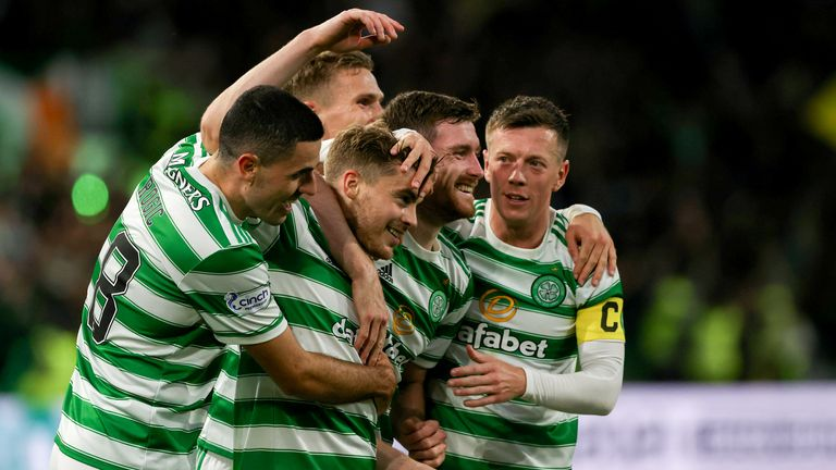 GLASGOW, SCOTLAND - AUGUST 18: James Forrest celebrates after scoring to make it 2-0 Celtic during a UEFA Europa League qualifier between Celtic and AZ Alkmaar at Celtic Park, on August 18, 2021, in Glasgow, Scotland. (Photo by Craig Williamson / SNS Group)