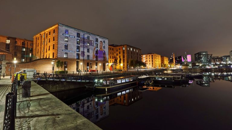 A projection on the Albert Dock to celebrate the arrival of Rodriguez